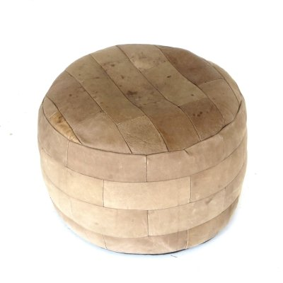 Vintage poof made of patchwork leather
