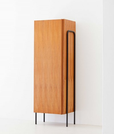 Italian Mid-Century Modern Light Wood & Black Iron wardrobe, 1950s