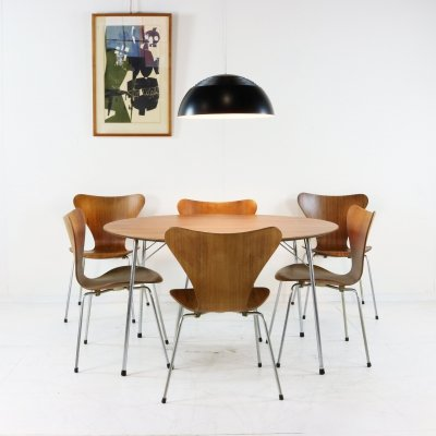 Arne Jacobsen Teak dining set with six chairs, 1960s