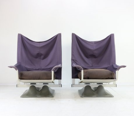 Pair of 650 AEO lounge chairs by Paolo Deganello for Cassina, 1970s