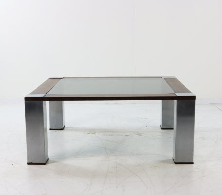Wenge, metal & glass coffee table, 1970s