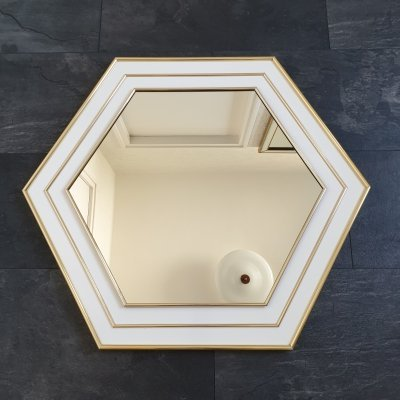 French Hegaxon white lacquered mirror with brass details