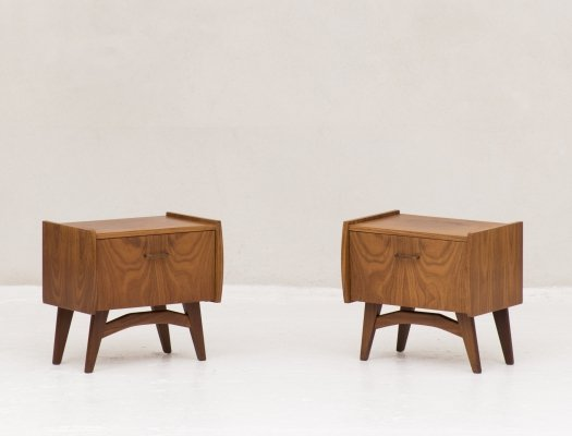Two drop front night stands, the Netherlands 1950's