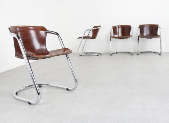 Set of 4 dining chairs by Willy Rizzo for Cidue, 1970s