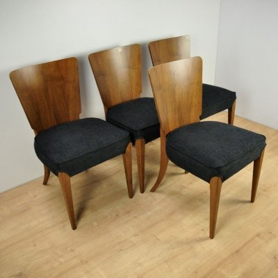 Set of 4 Black Dining Chairs by Jindřich Halabala for UP Závody, 1950s