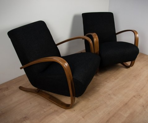Pair of H-269 Lounge Chairs by Jindřich Halabala for UP Závody, 1950s