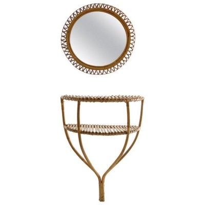 Rattan Console Table And Round Mirror, Italy 1960s