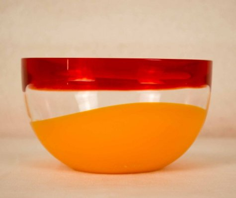 Red & orange Carlo Moretti signed bowl, 1970s