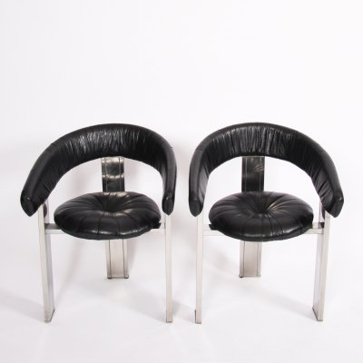 Pair of Black Leather & Nickel Plate Chairs, 1970s