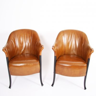 Pair of Giorgetti Tan Leather Armchairs