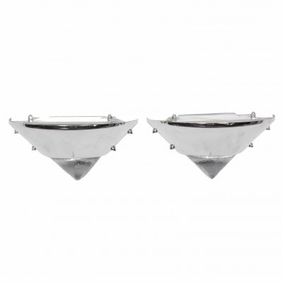 Pair of Small Triangular Glass & Metal Wall Lights