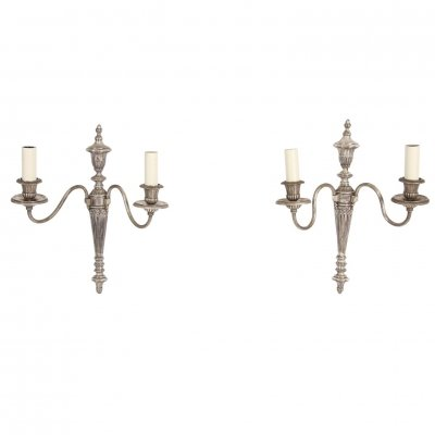 Pair of Silver Plated Electric Wall Sconces