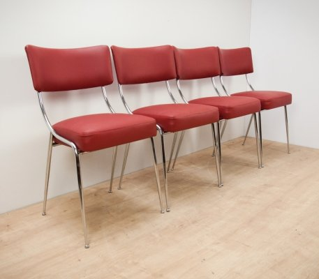 Set of 4 Italian Chrome Dining Chairs, 1950s