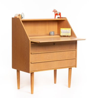 Vintage light oak Danish secretary cabinet with drawers, 1960's