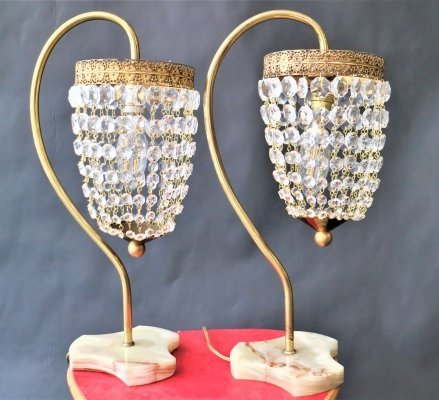 Couple of sparkling rhinestone table lamps, 1950s