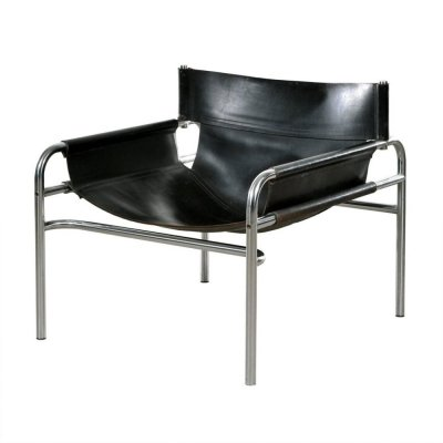 Original black saddle leather 'model 250' armchair by Walter Antonis for Spectrum