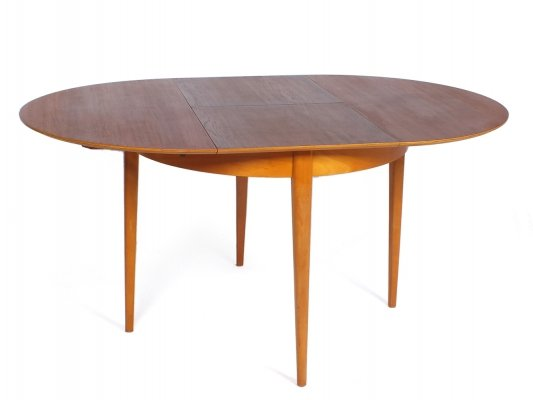 TB35 extendable round teak & oak table by Cees Braakman for UMS Pastoe