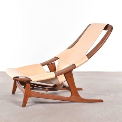 Saddle leather 'Holmenkollenjren 60' Lounge chair by Arne Tidemand Ruud for Norcraft