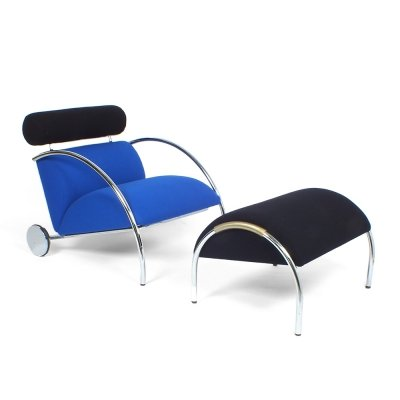 Post modern design 'Zyklus' easy chair & ottoman by Peter Maly for COR, 1980s