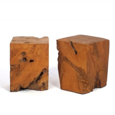Two rustic wooden stools / side tables