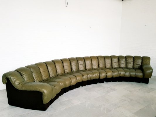 18 piece De Sede DS600 olive green sofa, 1970s