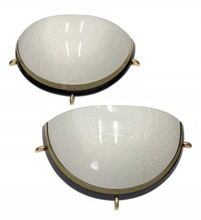 Set of Two Mid-Century Modern Brass & Glass Italian Wall Sconces, circa 1970