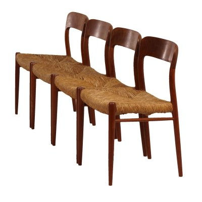 Four 'model 75' Danish Dining Chairs by Niels Otto Moller for JL Møllers Møbelfabrik