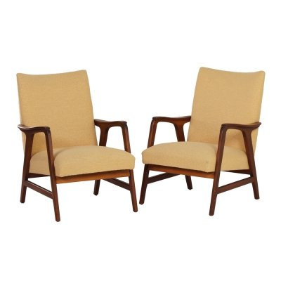 Pair of Vintage Armchairs in Teak & Yellow Fabric, 1960s