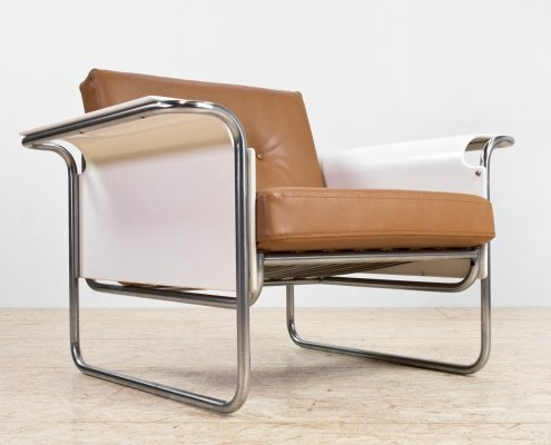 Faux leather & plywood Bauhaus armchair with tubular frame