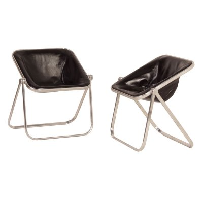 Pair of Plona Chairs in Black Leather by Giancarlo Piretti for Castelli, 1960s