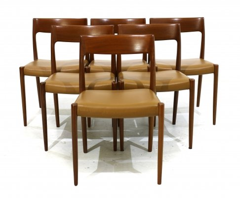 Set of 6 Mid-Century Danish Leather & Teak Dining Chairs by Niels Otto Møller, 1960s