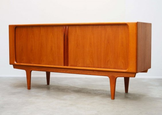Danish design credenza in teak with tambour doors by Bernhard Pedersen, 1950s