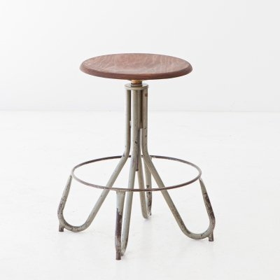 1950s Industrial iron & wood Stool