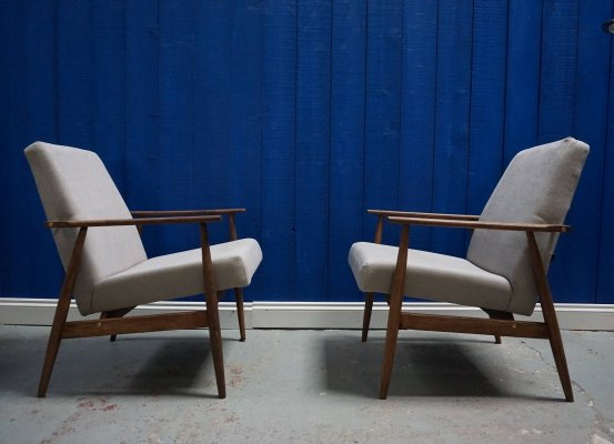 2 x grey Mid Century Armchairs by H. Lis, 1970's