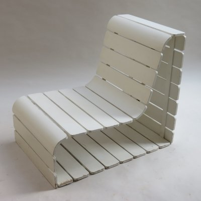 White Slatted Wooden Plywood Loop Chair, 1970s