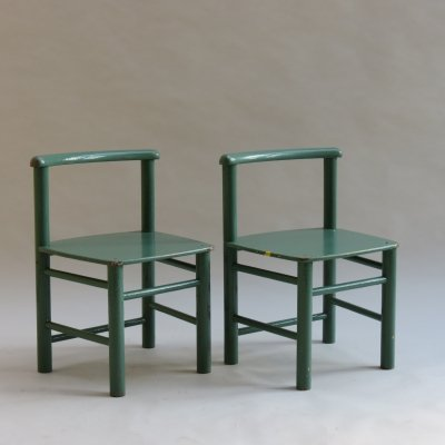 Pair of Scandinavian Childs Chairs in Green, 1960s