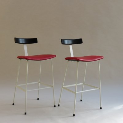 Pair of Red & Black Frank Guille Program Stools by Kandya, 1958