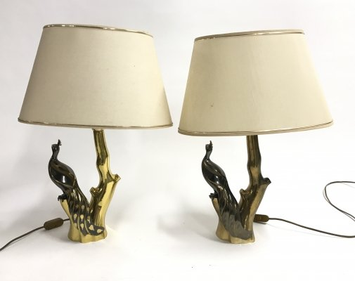 Pair of Vintage brass peacock table lamps by Willy Daro, 1970s