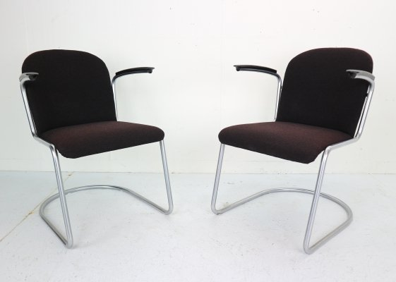 Set of Two W.H. Gispen M-413 Armchairs, Dutch Design 1953