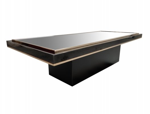 Vintage black & brass coffee table by Belgo Chrom, 1970s