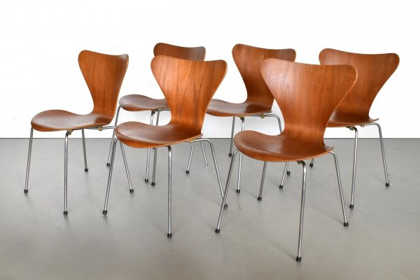 Set of 6 Serie 7 dining chairs by Arne Jacobsen for Fritz Hansen, 1960s