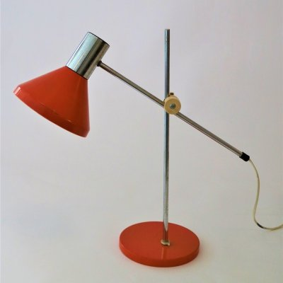 Vintage orange adjustable desklamp, 1970s