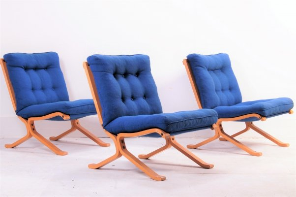 Set of 3 Danish lounge chairs, 1970s