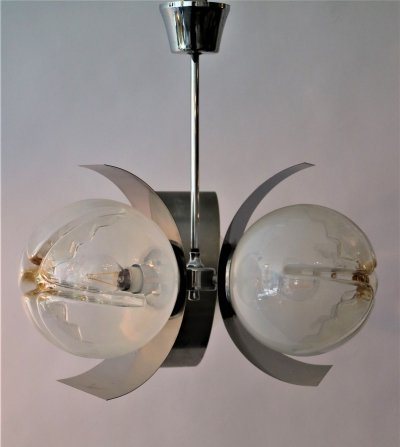 Mazzega hanging lamp with 3 Murano glass shades, 1960s