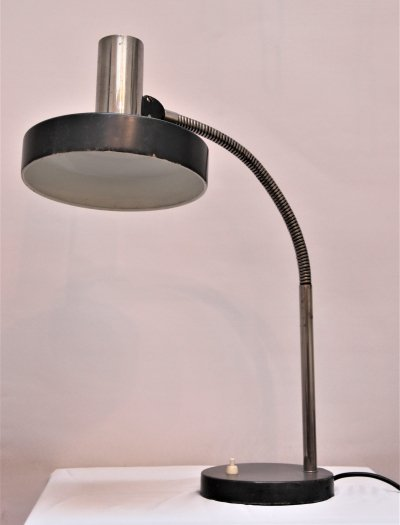 Vintage chrome & black steel desklamp, 1970s