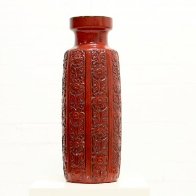 Large West Germany Ceramic Red Vase by Bay, 1960s