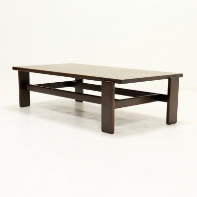 Asymmetrical Solid Wenge Wooden Coffee Table, 1960s