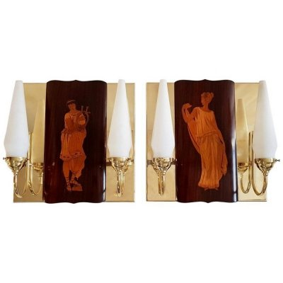 Mid-Century Marquetry Wall Sconces by Andrea Gusmai, Italy 1950s