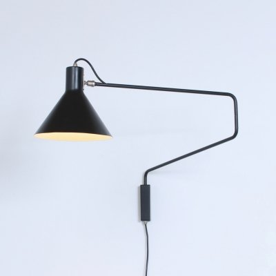 Black elbow swinging Paperclip wall light by Anvia, 1950s