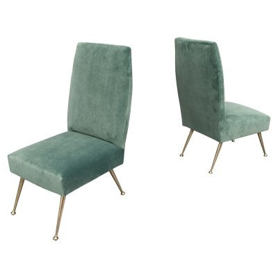 Elegant pair of side chairs by Gigi Radice for Minotti, 1950s